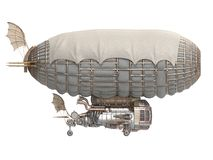 3d illustration of a fantasy airship in steampunk style on isolated white background. 3d illustration of a fantasy airship in steampunk style Royalty Free Stock Photography