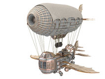 3d illustration of a fantasy airship in steampunk style on isolated white background. 3d illustration of a fantasy airship in steampunk style on isolated Royalty Free Stock Photos