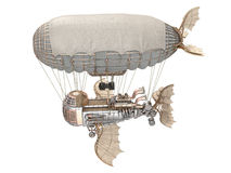 3d illustration of a fantasy airship in steampunk style on isolated white background. 3d illustration of a fantasy airship in steampunk style on isolated Stock Images