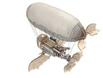 3d illustration of a fantasy airship in steampunk style on isolated white background Royalty Free Stock Photography