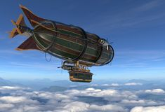 Fantasy Airship Zeppelin Dirigible Balloon 3D illustration. 3D illustration Fantasy airship Zeppelin Dirigible balloon Royalty Free Stock Photos