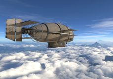 Fantasy Airship Zeppelin Dirigible Balloon 3D illustration. 3D illustration Fantasy airship Zeppelin Dirigible balloon Stock Images