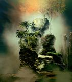 Inside The Jungle. 3D illustration fantasy landscape where it is observed various rock formations with extensive tropical vegetation and a large tree in Royalty Free Stock Image
