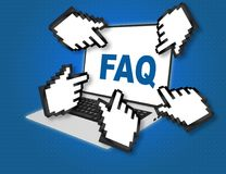 FAQ - frequently asked questions concept. 3D illustration of FAQ script with pointing hand icons pointing at the laptop screen from all sides Royalty Free Stock Images