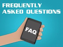 FAQ - frequently asked questions - concept. 3D illustration of FAQ script on the screen of a cellulr phone held by hand,  on blue gradient, with the script Stock Photos