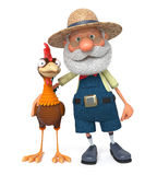 3d illustration the farmer and cock Royalty Free Stock Photography