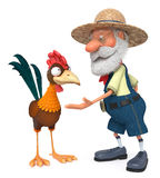 3d illustration the farmer and cock Royalty Free Stock Photos