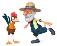 3d illustration the farmer and cock Royalty Free Stock Images