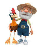 3d illustration the farmer and cock Royalty Free Stock Image