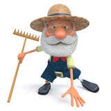 The 3D illustration the farmer costs with a rake in the open air Stock Image