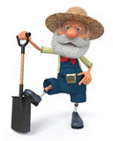 3D illustration the farmer costs with a shovel Royalty Free Stock Image