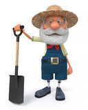 3D illustration the farmer costs with a shovel Royalty Free Stock Images