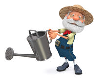 3d illustration the farmer costs with a watering can garden Stock Photos