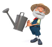 3d illustration the farmer costs with a watering can garden Stock Photo