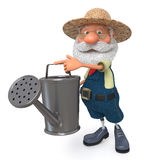 3d illustration the farmer costs with a watering can garden Stock Images