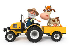 3d illustration the farmer with a cow goes on the tractor Royalty Free Stock Image