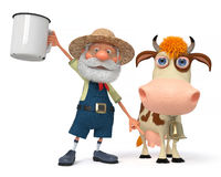 3d illustration the farmer with a cow Stock Image
