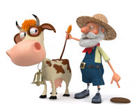 3d illustration the farmer with a cow Stock Photo