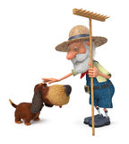3D illustration the farmer with a dog and a rake Stock Photo