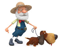 3D illustration the farmer with a dog and a rake Royalty Free Stock Photo