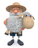3D illustration the farmer with a lamb Royalty Free Stock Photos