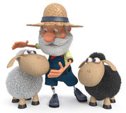 3D illustration the farmer with a lamb Stock Photography