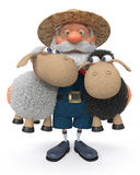 3D illustration the farmer with a lamb Royalty Free Stock Photo