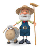 3D illustration the farmer with a lamb and a rake Stock Photos
