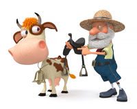 3d illustration a farmer rides his cow Stock Photo