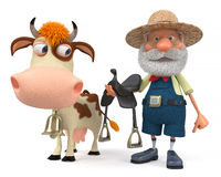 3d illustration a farmer rides his cow Stock Photography