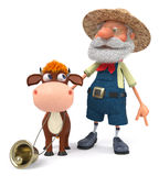 3d illustration the farmer stands with a funny calf Royalty Free Stock Photos