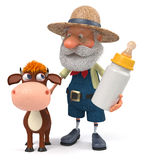 3d illustration the farmer stands with a funny calf Royalty Free Stock Photo
