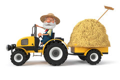 3d illustration the farmer with a tractor Royalty Free Stock Image