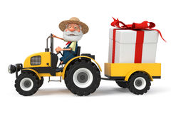 3d illustration the farmer with a tractor Stock Image