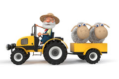 3d illustration farmers tractor with lambs Stock Photo