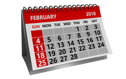 February 2018 calendar. 3d illustration of february 2018 calendar isolated over white background Royalty Free Stock Photos