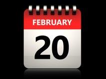 3d 20 february calendar. 3d illustration of 20 february calendar over black background Stock Images