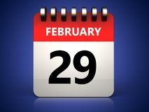 3d 29 february calendar. 3d illustration of 29 february calendar over blue background Stock Image