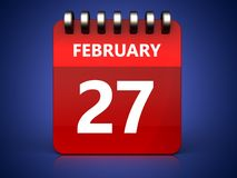 3d 27 february calendar. 3d illustration of february 27 calendar over blue background Royalty Free Stock Image