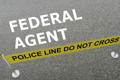 Federal Agent concept. 3D illustration of FEDERAL AGENT title on the ground in a police arena Royalty Free Stock Photo