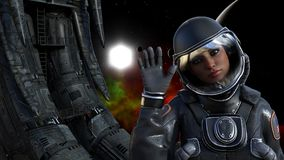Illustration of a female astronaut in space next to an alien derelict waving with a sun, planet and red nebula in the background. 3d illustration of a female royalty free illustration