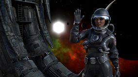 Illustration of a female astronaut in space next to an alien derelict waving with a sun, planet and red nebula in the background. 3d illustration of a female stock illustration
