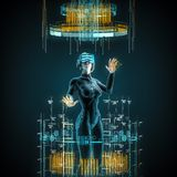 Virtual reality female user. 3D illustration of female figure in virtual gear working in cyberspace Stock Image