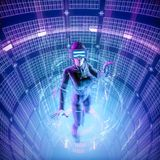 Virtual reality datasphere female user. 3D illustration of female figure in virtual gear working in glowing cyber environment Stock Photography
