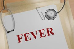 FEVER - medical concept. 3D illustration of FEVER title on a medical document Stock Photos