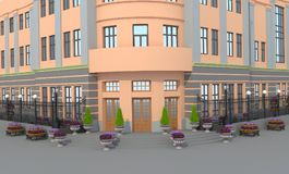3d illustration. A fictional building with flower beds. Public building Stock Photo
