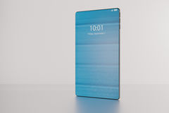 3D illustration of a fictitious bezel-free high-end smartphone i. S revealed during a product presentation royalty free illustration