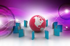 File folders rounded the globe. 3d illustration of File folders rounded the globe Stock Image