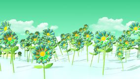 3D field of psychedelic flowers and green sky. A 3D illustration of a field of stylized psychedelic flowers in front of a clouded green sky Stock Photography