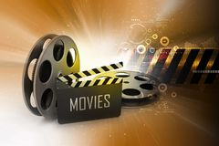 Film Reels and Clapper board. 3d illustration of Film Reels and Clapper board Royalty Free Stock Photos